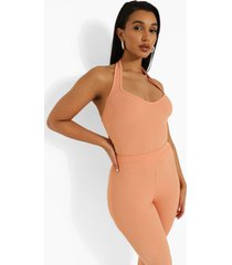 geribbelde hemd met halter neck en laag decolleté, orange