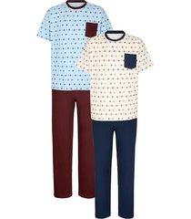 pyjama's roger kent 1x grijs/blauw, 1x lichtblauw/bordeaux
