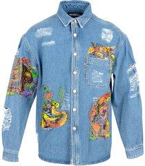 jeremy scott designer shirts, distressed denim men's shirt w/patches
