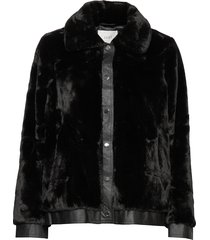 sally fake fur jacket outerwear faux fur zwart just female