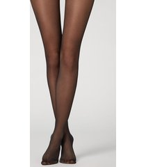 calzedonia 30 denier sheer tights with glitter back seam woman black size 3/4