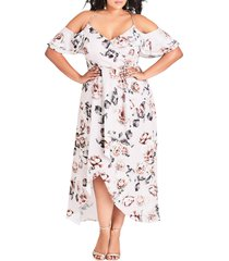 plus size women's city chic champagne rose cold shoulder maxi dress, size small - pink