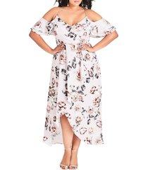 plus size women's city chic champagne rose cold shoulder maxi dress