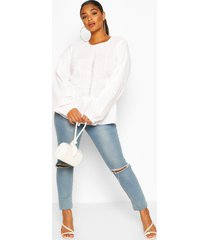 plus broiderie long sleeve smock blouse, white
