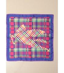 etro neck scarf etro scarf in tartan patterned silk with pegasus
