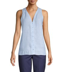 pure navy women's v-neck linen tank top - chambray blue - size l