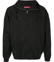 supreme hooded raglan jacket - black