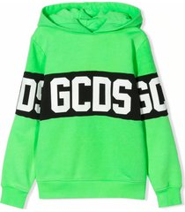 gcds lime green cotton blend hoodie