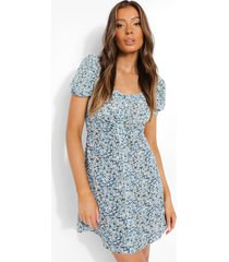 bloemenprint mini jurk met pofmouwen, blue