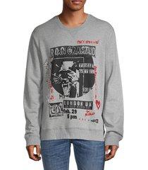 valentino garavani men's graphic cotton-blend sweatshirt - grigio - size s