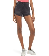 lee high waist dungaree shorts, size 32 in washed black at nordstrom