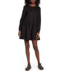 women's english factory ruffle hem long sleeve knit dress