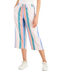 style & co plus size printed wide-leg cropped pants, created for macy's