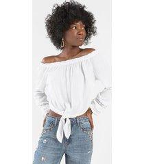 anastasia crochet tie front blouse - white