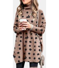 camicetta casual da donna a maniche lunghe con collo alto e stampa a pois