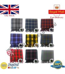 scottish piper's kilt fly plaid  acrylic wool various tartans with stone brooch