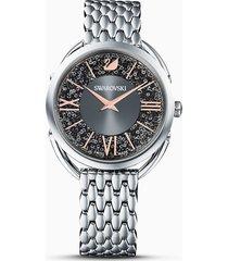 orologio crystalline glam, bracciale di metallo, grigio, acciaio inossidabile
