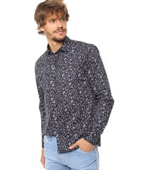 camisa azul laundry ml claus slim estampada vte.6