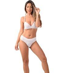 conjunto com bojo vip lingerie microfibra com renda favo de mel branco - branco - feminino - algodã£o - dafiti