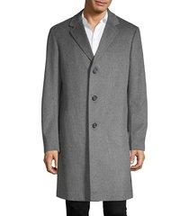 saks fifth avenue men's long wool coat - light grey - size l
