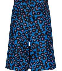 comme des garçons homme plus leopard print bermuda shorts - blue