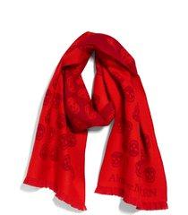women's alexander mcqueen skull wool scarf, size one size - red