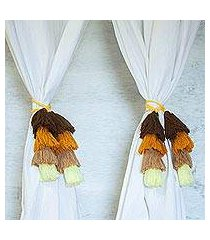 cotton curtain tiebacks, 'birch beauty' (set of 4) (mexico)