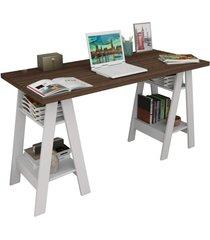 mesa escrivaninha self nogueira e branco appunto - branco - dafiti