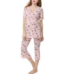 kimi & kai foxy maternity nursing pajama set
