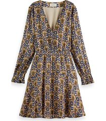 scotch & soda 163853 0218 printed long-sleeved mini-dress in recycled polyester combo b