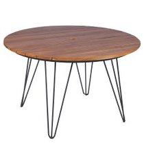 mesa de madeira redonda tramontina 14526051 tarsila teca marrom