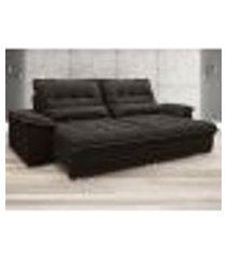 sofá bergamo 2,30m assento retrátil e reclinável velosuede chocolate - netsofas