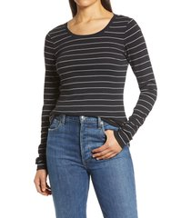 women's caslon long sleeve scoop neck cotton tee, size x-small - black