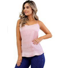 blusa básica de seda con tiras rosa unipunto 32373