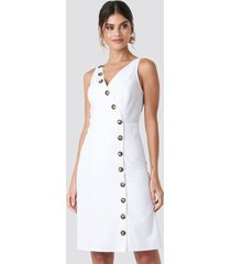 na-kd trend buttoned detail dress - white