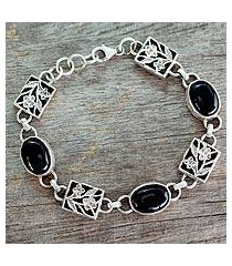 onyx floral bracelet, 'summer night' (india)