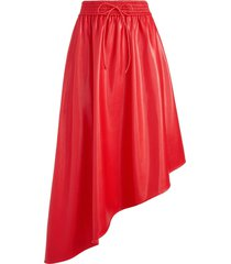 alice+olivia leather-effect asymmetric skirt - red