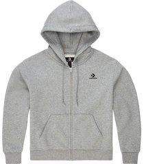 converse sudadera con capucha con cremallera completa y logotipo star chevron bordado grey