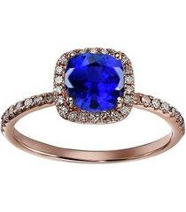 0.1ctw cushion sapphire & round sim. diamond 14k rose gold fn wedding band ring