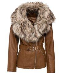 giacca in similpelle con collo in ecopelliccia (marrone) - bodyflirt