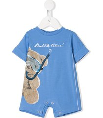 lapin house short sleeve snorkel bear print romper - blue