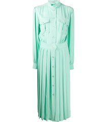 alberta ferretti long sleeve pleated skirt shirt dress - green
