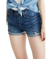 women's madewell high rise cuffed denim shorts, size 33 - blue