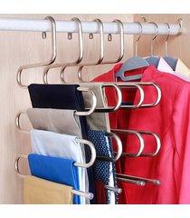 5 capas s multifuncional forma perchas pantalón perchas de rack de alm