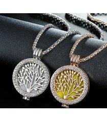 collana di scatola di aromaterapia della lega di zinco della lega dell'albero di vita dell'annata di fragranza per le donne