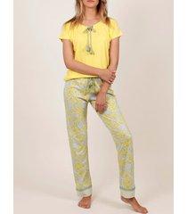 pyjama's / nachthemden admas binnenpak pyjamabroek t-shirt geel hippy geel