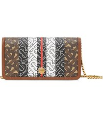 burberry monogram stripe e-canvas phone wallet with strap - brown