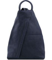 tuscany leather tl140963 shanghai - zaino in pelle morbida blu scuro