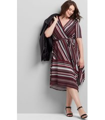 lane bryant women's crossover striped fit & flare dress 18/20 burgundy stripe