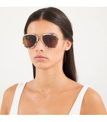 gucci women's leather snake print pilot sunglasses - yellow/gold/brown